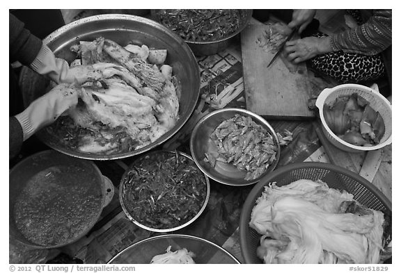 Kimjang kimchi prepared in early winter. Gyeongju, South Korea (black and white)