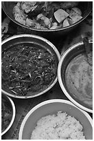 Dishes with kimchee ingredients. Gyeongju, South Korea ( black and white)