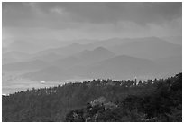 Forest slopes and distant misty hills, Mt Namsan. Gyeongju, South Korea ( black and white)