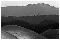 Burial mounds and hills. Gyeongju, South Korea ( black and white)