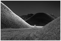Burial mounds and tombs at night. Gyeongju, South Korea ( black and white)