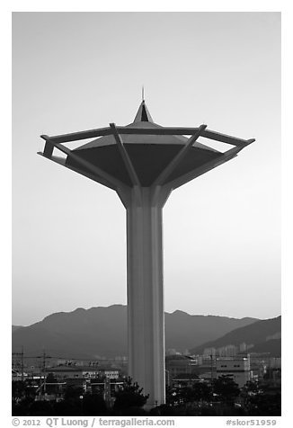 Water tower at dawn, Busan. South Korea