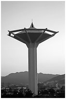 Water tower at dawn, Busan. South Korea ( black and white)