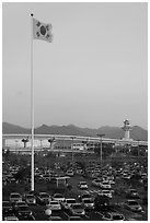Parking lot of airport, Busan. South Korea ( black and white)