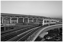 Subway on elevated bridge near airport, Busan. South Korea ( black and white)