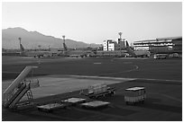 Gimhae International Airport tarmac, Busan. South Korea ( black and white)