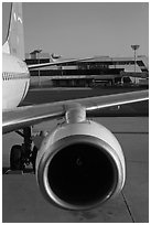 Jet engine, Gimhae International Airport, Busan. South Korea ( black and white)