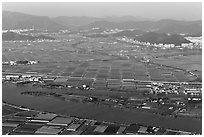 Aerial view of fileds and high rises, Busan. South Korea ( black and white)