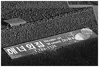 Sign on roof of Haeneyo house, Seongsang Ilchulbong. Jeju Island, South Korea (black and white)