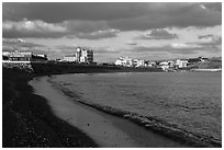 Black sand beach, Seongsang Ilchulbong. Jeju Island, South Korea (black and white)