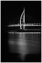 Suspension bridge at night, Seogwipo-si. Jeju Island, South Korea (black and white)