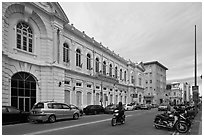 Colonial-style building and street. George Town, Penang, Malaysia ( black and white)
