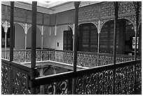 Inside courtyard veranda, Cheong Fatt Tze Mansion. George Town, Penang, Malaysia (black and white)