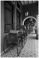 Rickshaws in front gallery, Cheong Fatt Tze Mansion. George Town, Penang, Malaysia (black and white)