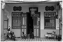 Townhouse entrance. George Town, Penang, Malaysia ( black and white)