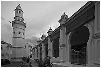 Acheen Street Mosque with Egyptian-style minaret. George Town, Penang, Malaysia ( black and white)