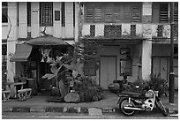 Old townhouse facades. George Town, Penang, Malaysia ( black and white)