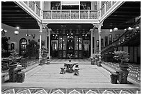 Courtyard of wealthy Baba-Nonya straits mansion. George Town, Penang, Malaysia (black and white)