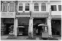 Chinatown shophouses. George Town, Penang, Malaysia ( black and white)