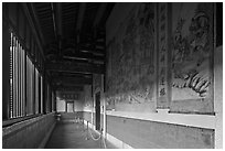 Murals in back gallery, Khoo Kongsi. George Town, Penang, Malaysia ( black and white)