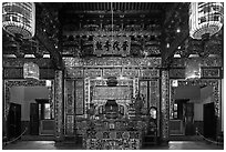 Enormous paper lamps lighting main hall of Khoo Kongsi. George Town, Penang, Malaysia ( black and white)