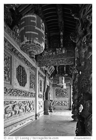Gallery with paper lamps and stone carvings, Khoo Kongsi. George Town, Penang, Malaysia