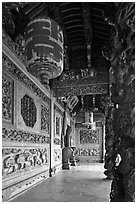 Gallery with paper lamps and stone carvings, Khoo Kongsi. George Town, Penang, Malaysia (black and white)