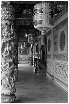 Paper lamps and rich carvings, Khoo Kongsi. George Town, Penang, Malaysia ( black and white)
