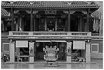 Hock Tik Cheng Sin Hokkien Temple. George Town, Penang, Malaysia ( black and white)