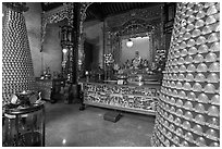 Wishing wheels and altar, Hainan Temple. George Town, Penang, Malaysia ( black and white)