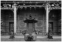 Slate and crimson facade, Hainan Temple. George Town, Penang, Malaysia ( black and white)