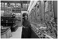 Abbot in Gelugpa Buddhist Association temple. George Town, Penang, Malaysia (black and white)