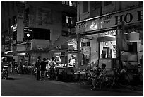 Street food stalls at night. George Town, Penang, Malaysia ( black and white)