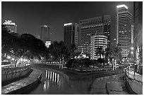 Confluence of Sungai Klang and Sungai Gombak (where the city founders first set foot). Kuala Lumpur, Malaysia ( black and white)