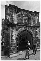 Porta de Santiago gate from A Famosa fort. Malacca City, Malaysia ( black and white)