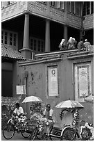 Trishaws in front of Stadthuys. Malacca City, Malaysia (black and white)