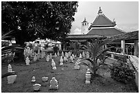 Cemetery and Masjid Kampung Hulu, oldest functioning mosque in Malaysia (1728). Malacca City, Malaysia (black and white)