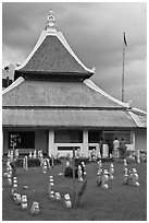 Kampung Kling Mosque with multiered meru roof. Malacca City, Malaysia (black and white)