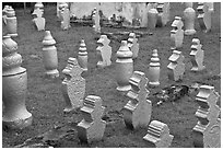 Muslim graves with simple markers, Kampung Kling. Malacca City, Malaysia (black and white)