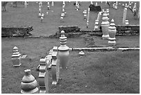 Grave headstones without ornaments, Kampung Kling. Malacca City, Malaysia (black and white)