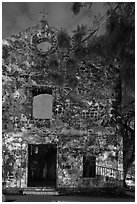 Ruined facade of St Paul Church at night. Malacca City, Malaysia (black and white)