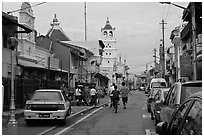 Harmony Street, featuring Hindu and Chinese Temples and a mosque. Malacca City, Malaysia ( black and white)