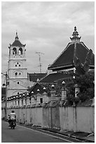 Minaret and Javanese style roof, Masjid Kampung Hulu. Malacca City, Malaysia (black and white)