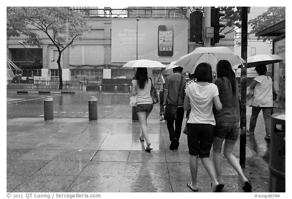Women walking under unbrella during downpour. Singapore (black and white)