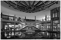 Pool and canal in the Shoppes, Marina Bay Sands. Singapore (black and white)
