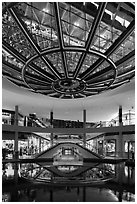 Canal and bridge, the Shoppes, Marina Bay Sands. Singapore (black and white)