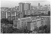 Appartment buildings from Mt Faber. Singapore ( black and white)
