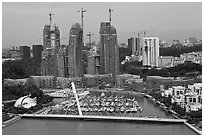 Marina and towers under construction. Singapore ( black and white)