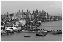 Harbor and Central Business District. Singapore (black and white)