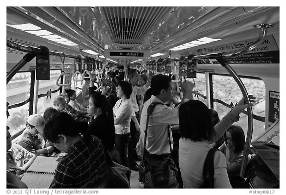 Inside MRT train. Singapore
